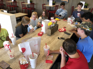Chick-fil-a with group